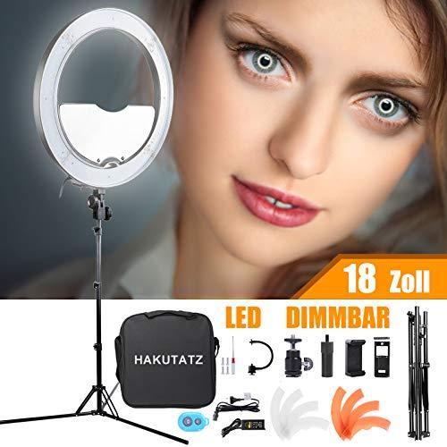 HAKUTATZ Ringlicht 18 Zoll 48cm Dimmbare Led Ringleuchte 55W 3200K-5600K mit Stativ Spiegl LED Ringlicht Kit für Video und Fotoaufnahmen Make-up, Live...