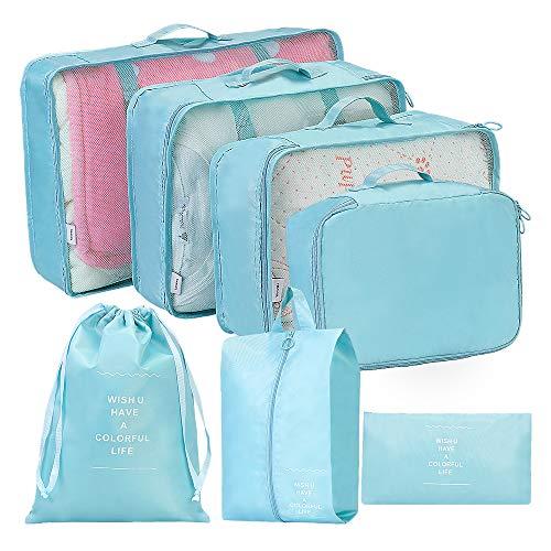 Packing Cubes, Kofferorganizer Set Reise Leicht, Kleidertaschen Packtaschen für Kleidung Schuhbeutel Unterwäsche Kabel Kosmetik Aufbewahrungstasche(Blau, 7-teilig) -