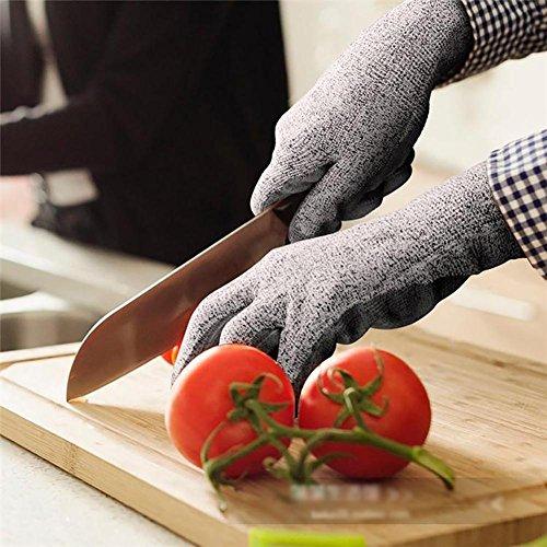 ZHANG4 Schnittfeste Handschuhe Anti-Kratz Verschleißfest Punktionsschutz Handschutz Küche Töte Fische Elastische Manschetten Nitrilkautschuk HPPE-Faser Nylon Grau + Schwarz, L -