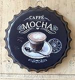 L'Esprit des Anges Dekoschild Coffee Mocha aus Metall in Kapselform Ø 40 cm