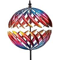 Bits y piezas–magnífico Jupiter bidireccional gigante 22pulgadas Diámetro Wind Spinner–Multicolor–corazón–adorno de decoración césped molino de viento de jardín Kinetic único al aire libre césped y jardín decoración