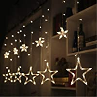 Coudre Star Curtain Lights 12 Stars 138 LED Star String Lights 8 Modes Stars Shaped String Lights Plug in Curtain Lights...