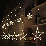 Coudre Star Curtain Lights 12 Stars 138 LED Star String Lights 8 Modes Stars Shaped String Lights Plug in Curtain Lights...