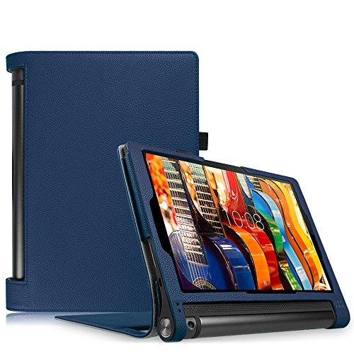 Fintie Lenovo Yoga Tablet 3 10 Hülle Case (nicht für Lenovo Yoga Tab 3 Plus / Yoga Tablet 3 Pro geeignet) - Slim Fit Folio Premium Kunstleder Schutzhülle Tasche Etui Cover mit Auto Sleep / Wake für Lenovo Yoga Tablet 3 25,7 cm (10,1 Zoll), Marineblau