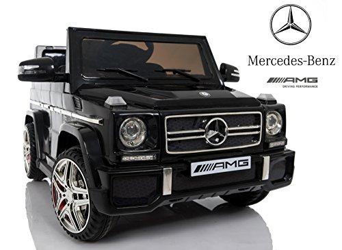 Mondial Toys Auto Macchina ELETTRICA Mercedes G65 AMG Fuoristrada per Bambini 12V con Sedile in Pelle Cintura di Sicurezza A 5 Punti Telecomando Nera