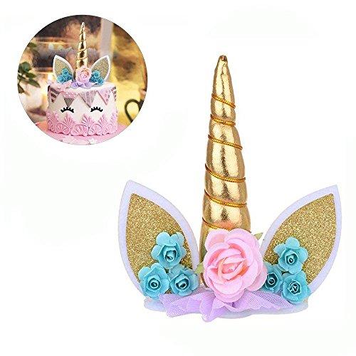 Gold Einhorn Kuchen Topper Set mit Einhorn Horn