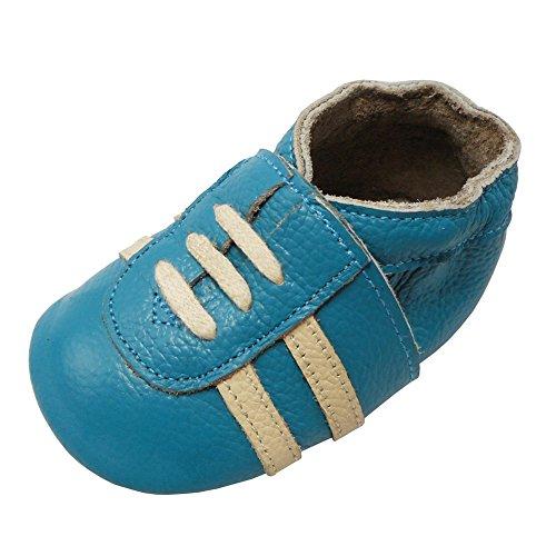 YIHAKIDS Weicher Leder Lauflernschuhe Krabbelschuhe Babyhausschuhe Turnschuh Sneakers mit Wildledersohlen(Wasserblau,0-6 Monate) (Weiches Leder Sneaker)