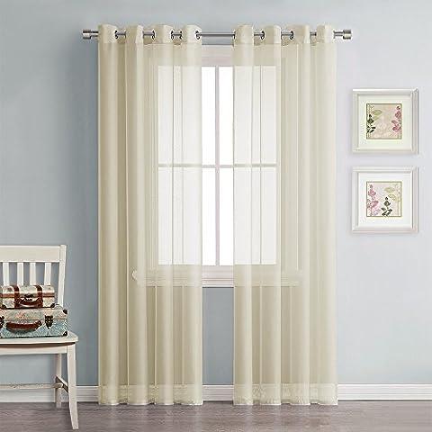 Voile Vorhänge Wohnzimmer Ösen Transparent - PONY DANCE ( 175 x 140 cm, Beige, 1 Paar ) luftig dunstig durchsichtig für Schlafzimmer, lichtdurchlässig Dekoschal Tüll Vorhang