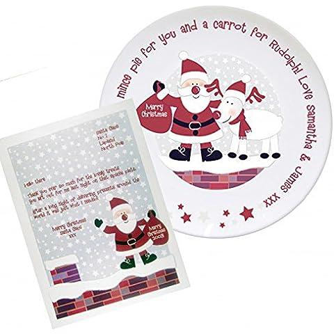 Plato para tartas de Papá Noel, personalizable, de recuerdos, placa de Navidad, de Papá Noel