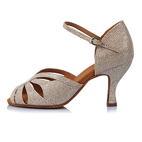 HROYL Zapatos de Baile para Mujeres y Niñas Latino de Diamantes de imitación Señoras Salsa Latina...