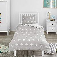 Bloomsbury Mill - Grey & White Stars - Kids Bedding Set - Single Duvet Cover and Pillowcase