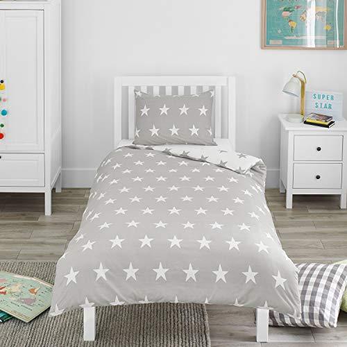 Bloomsbury Mill – Graue & Weiße Sterne – Bettwäscheset für Kinder – Bettbezug und Kissenbezug – Einzelbett