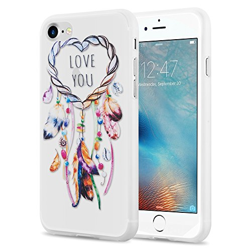 Cadorabo - TPU Ultra Slim >          Apple iPhone 8 / 7 / 7S          < Silikon Hülle mit Motiv - Case Cover Schutz-Hülle Schale Bumper Handyschale im Design: TRAUMFÄNGER 'Dreams come true' HERZ TRAUMFÄNGER 'Love you'
