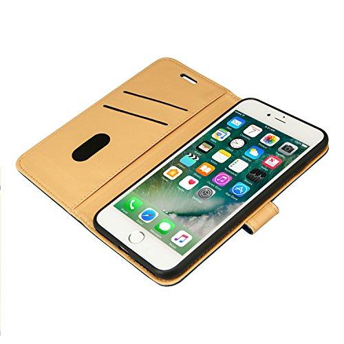 Labato Portemonnaie-Stil iPhone 8 Plus / iPhone 7 Plus Leder Tasche Braun Lbt-I7L-02Z20 blau