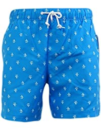 df57dba20700c Original Penguin Blue All Over Penguin Logo Mesh Lined Swim Shorts -  8026-418