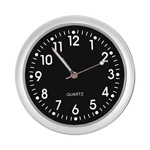Fdit Auto Armaturenbrett Uhr Klassische kleine runde Tabelle Onboard Quarzuhr mit belichtetem Licht Mini Nachtleuchtende Uhr Uhren für Selbstdekoration