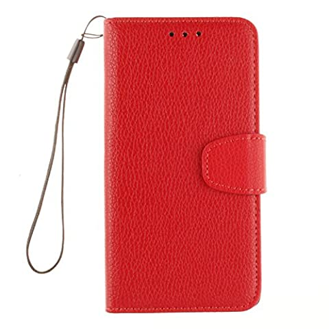 Lenovo K3 A6000 Case, Cozy Hut Premium Litchi Pattern Leather Wallet Phone Case [ Protect Screen ] - [Magnetic Closure] - [Card Slot][Flip][Wallet Series] Premium Flip Book Case Style with Stand Feature For Lenovo K3 / A6000 5,0 Inch - red