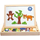 [Sponsored]Assemble Wooden Toys Easel Kids Jungle Animal Magnetic Drawing Board Puzzle Painting Blackboard Learning & Education Toys (Multicolor)