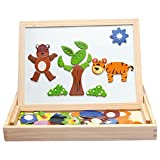 #7: Assemble Wooden Toys Easel Kids Jungle Animal Magnetic Drawing Board Puzzle Painting Blackboard Learning & Education Toys (Multicolor)
