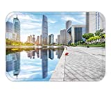 MSGDF Doormat Empty Floor and City Skyline Under Blue Sky tianjin china15.7X23.6 Inches/40X60cm
