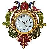 Divine Crafts Peacock Papier Mache Wall Clock (Multicolor)