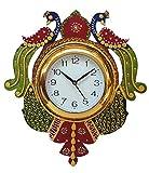 #5: Divine Crafts Peacock Papier Mache Wall Clock (Multicolor)