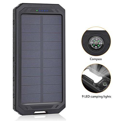 Solar Ladegerät 12000 mAh ADDTOP Solar Power Bank Externe Akku Batterie mit 9 led Eingebauter Taschenlampe Duale USB Ports tragbare ür iPhone, iPad, Handy, Tablet, Kamera usw