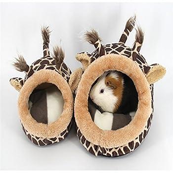 Miyare Lit Nid Animaux Naissant avec Rideaux en Velours Côtelé Flanelle pour Chats Chiens Cochon Néerlandais Hamster (L, Girafe)