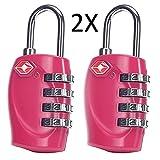 Cestvel TSA Reiseschloss/Gepäckschloss 4 Nummern Kombination Code Sicherheit Vorhängeschloss für Reisekoffer Gepäck 2 Stück (Rosa)