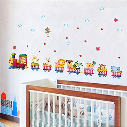 XQWZM Cartoon Animal Train Wall Stickers for Kids Rooms Nursery Baby Children Bedroom Home...