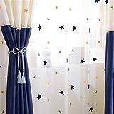 GWELL Kinderzimmer Stern Mond Voile Vorhang Gardinen mit Ösen Dekoschal Ösenschal Transparent Tüll 225x140cm(HxB) 1er-Pack