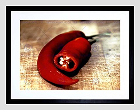 RED HOT CHILLIES ON BOARD KITCHEN SPICE HOME BLACK FRAMED