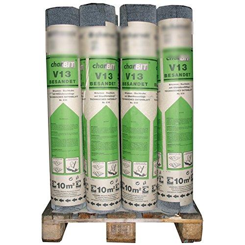 1 Palette Bitumen-Dachpappe V13 besandet schwarz 24 Rollen mit je 10 m² = 240 m² mit Glasvlieseinlage und Glasgewebeeinlagen