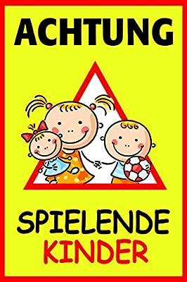 """Hinweisschild, Warnschild """"Achtung - Spielende Kinder"""", iSecur®, Größe: 20x30cm, Art. hin_110, Achtung, Vorsicht, Warnung, Hinweis, Schild Spielstraße"""