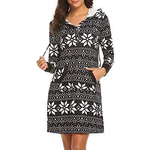 ODRD Clearance Sale [S-XL] Weihnachten Damen Kleider Kleid MäDchen Lässige Weihnachten Pullover Tasche schlankes Kleid Hoodie Button Mini Dress Minikleid Festliche Frauen Abendkleid Elegant Party