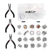 Kurtzy Kit de Fabrication de Bijoux en Plaqué Argent et Ensemble Outils (1000 Pièces Kit de Fabrication de Bijoux)