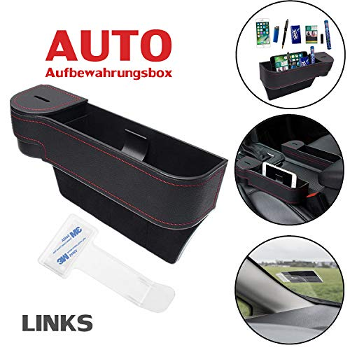 Multifunktionale Aufbewahrungsbox für Auto + 1 Stück Parkscheinhalter | Premium PU Leder Autositz Seitentaschen Organizer Mit Abnehmbarem Münzsammler | für Zusätzliche Lagerung | Schwarz (Links)