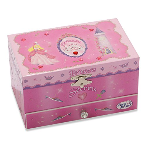 Prinzessinnen-Musik-Schmuckbox für Kinder–glitzernde Kinderspieluhr mit Ringhalter (Hot Pink); Lucy Locket - 2