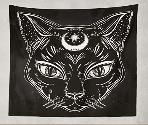 h, Schwarze Katzenkopf, Hochformat, Mond, ideal für Halloween, Tattoo-Kunst, 152,4 x 203,2 cm, Polyester-Stoff ()
