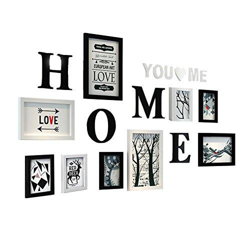 HJKY Bilderrahmen High Polymer Material gesetzt, einfache und moderne Design, unregelmäßige Bilderrahmen, Foto an der Wand, für Wohnzimmer, Schlafzimmer, Schwarze und Weiße Mashup K - Euro-stil Modern Tisch