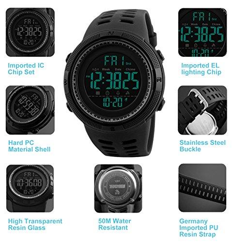 Reloj Digital, para Hombre, para Actividades al Aire Libre, Deportivo, Militar, Sumergible, cronógrafo, Cuenta atrás, Luces LED, con Alarma, de Goma Negra (Negro)