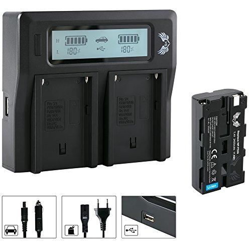SK Akku Sony NP-F550 2400mAh + LCD Dual Doppel Ladegerät für Sony NP-F550 NP-F750 NP-F950 NP-F990 NP-FM50 NP-FM500H und weitere Np-fm50-lithium-batterie