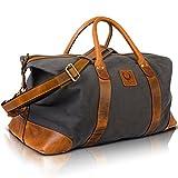 Große Leder Canvas Reisetasche, Weekender für Damen Herren, leichte Sporttasche, Duffle Travel Bag Vintage Corno d´Oro TB33