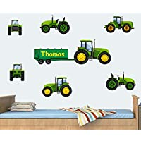 Personalised Tractors Pack - Green - Wall Art Vinyl Stickers