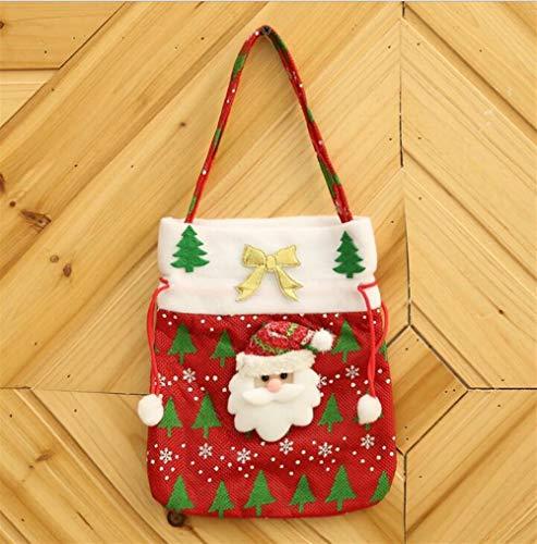 Upstudio Party Taschen Kreative Applique Einkaufstasche Candy Bag Weihnachten Tuch Geschenktüte (Alter Mann, rot)