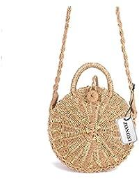 Zongsi Paille ronde sac de plage été mini sac à bandoulière à la main Vintage cercle rotin sac petit sac à bandoulière Bohème pour les femmes MnznWL