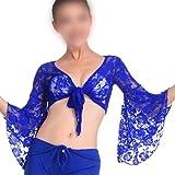 SODIAL(R) Sexy Danse Orientale Dansant Dentelle Blouse Choli Haut Brassiere Danse tenu Costumes-Bleu fonce