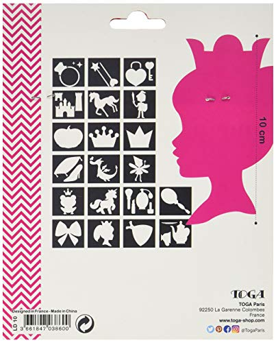 Unbekannt D.I.Y with Toga LD10Sortiment von 20Schablonen Prinzessin Kunststoff transparent 12,5x 12,5x 0,3cm