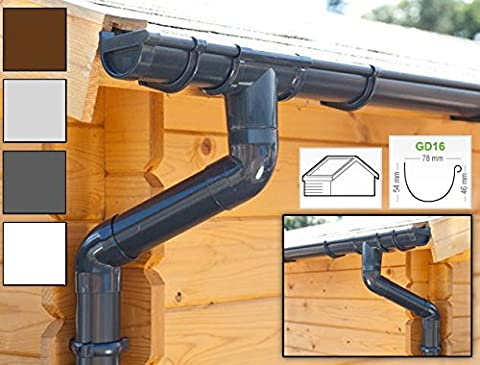 Plastic guttering kit for gabled roof (2 roofsides)   GD16   in 4 colours! Ideal for summer house or log cabin! (All-in-one kit up to 3,50 m,