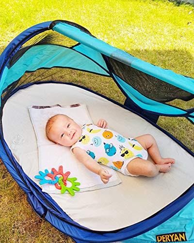 Deryan Travel-cot Baby Luxe Reisebettzelt inklusive Schlafmatte, selbstaufblasbarer Luftmatratze und Tragetasche mit Pop-Up innerhalb 2 Sekunden aufgebaut, ocean - 6